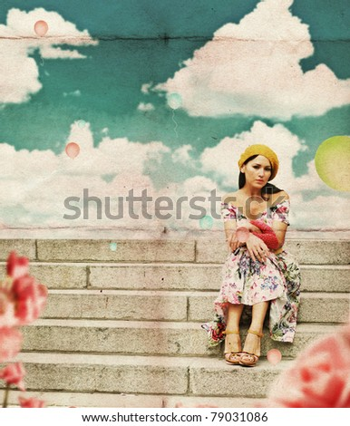 beauty young woman in perfect dress, vintage collage - stock photo