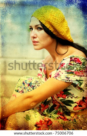 beauty young woman in pretty dress, vintage texture - stock photo