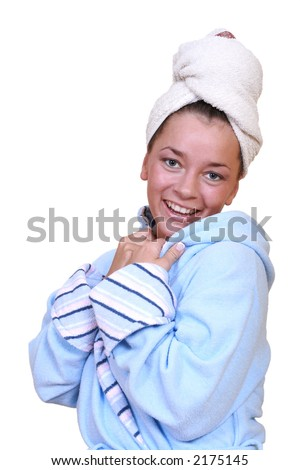 beauty young woman in towel - after shower isolated on white - stock photo
