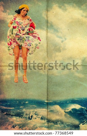 beauty young woman jump from sky in water, vintage art collage - stock photo