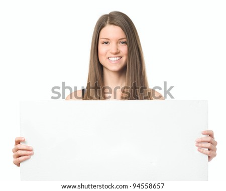 Beauty young woman portrait with bulletin board - stock photo