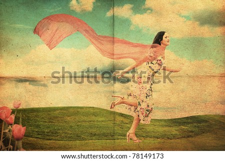 beauty young woman running on meadow in dress with red scarf, vintage collage - stock photo