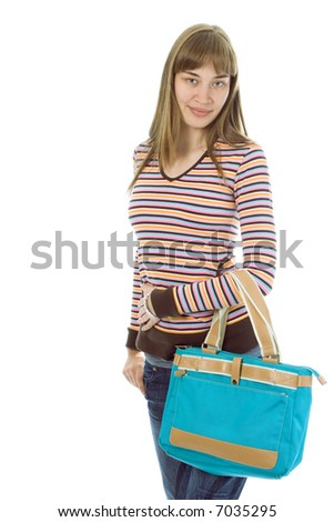 beauty young woman shopping with bag over white background