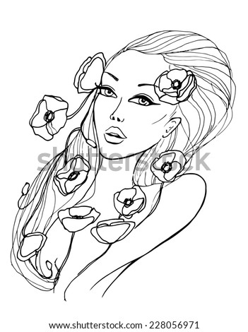 Beauty Young Woman Sketch Illustration. Black and white. - stock photo