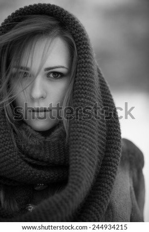 beauty young woman. winter portrait