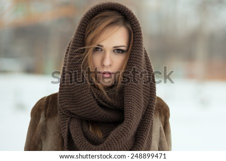 beauty young woman. winter portrait - stock photo