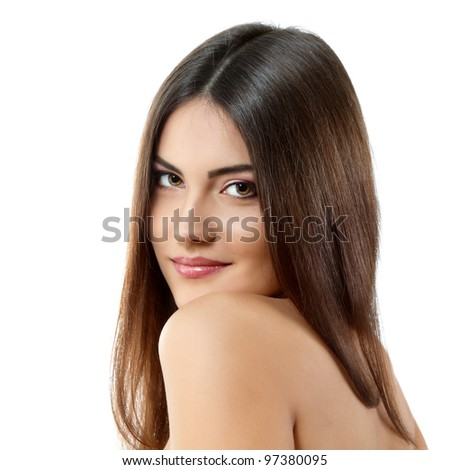 beauty young woman with beautiful long brunette hair isolated on white background - stock photo