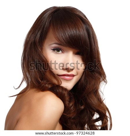 beauty young woman with beautiful long hair isolated on white background - stock photo