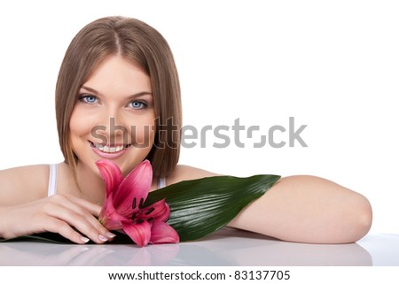 beauty young woman with green leaf and flower, concept - natural beauty, isolated on white background - stock photo