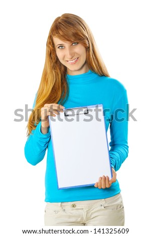 beautyful girl holding clipboard
