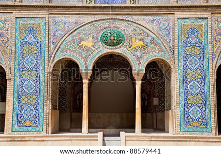 Beautyful mosaic arc of Golestan  palace, Tehran, Iran - stock photo