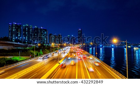 Beautyful of traffic in Seoul at night and cityscape, South Korea with motion blur.