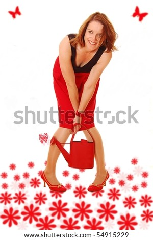 Beautyful woman with flowers - stock photo