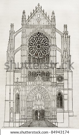 Beauvais cathedral, side portal, old illustration. By unidentified author, published on Magasin Pittoresque, Paris, 1840 - stock photo