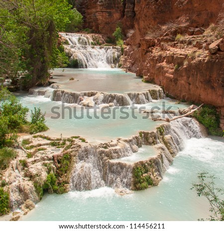 Beaver Falls in the Havasu area in the Grand Canyon - stock photo