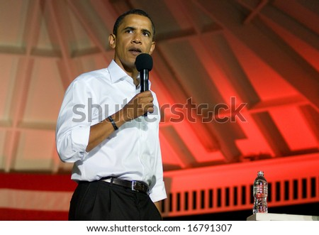 BEAVER, PA - AUGUST 29: Sen. Barack Obama campaigns in Beaver, PA, on August 29, 2008. - stock photo