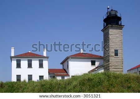 Beavertail Lighthouse Rhode Island Horizontal with Room for Text - stock photo