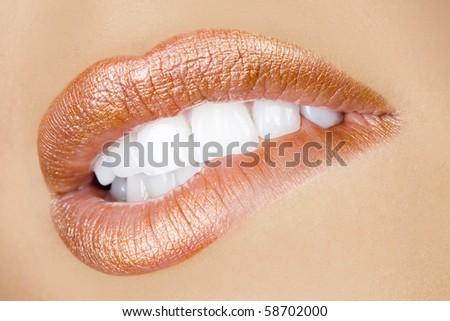 bebautiful attractive make up mouth, perfect teeth and sensual lips - stock photo
