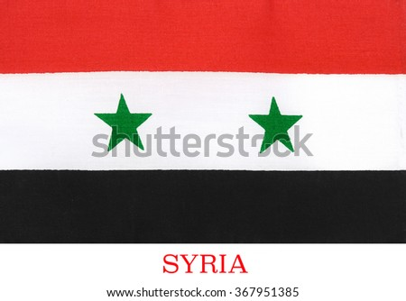 Because of the Syrian civil war, there are currently 2 governments claiming to be the government of Syria, using different flags. The incumbent government, led by Bashar al-Assad is using this flag    - stock photo