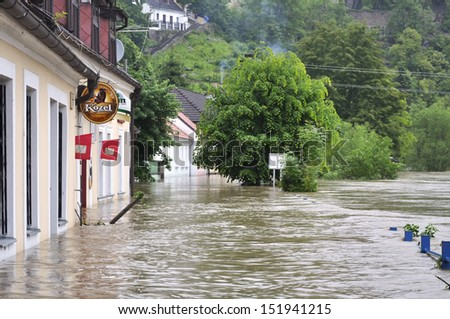 Bechyne, Czech Republic - JUNE 2: Flooding in Bechyne, Czech Republic. Swollen river Luznice. June 2, 2013. - stock photo