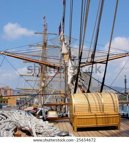 beck of  sailing ship,  regatta in barcelona spain - stock photo