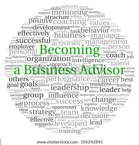 Becoming a Business Advisor concept in word tag cloud on white background