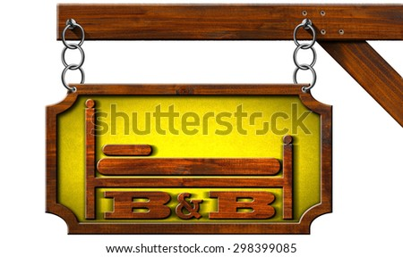 Bed and Breakfast - Sign with Chain / Wooden sign with text B&B (Bed and Breakfast). Hanging from a metal chain and isolated on white background - stock photo
