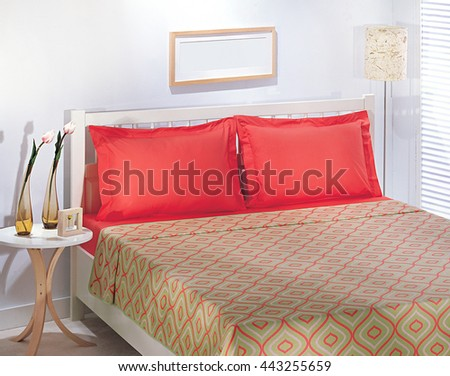 Bed and decorative retro red green bedspread