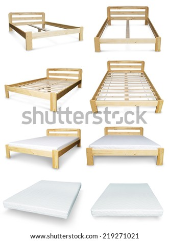 Bed and mattress - stock photo