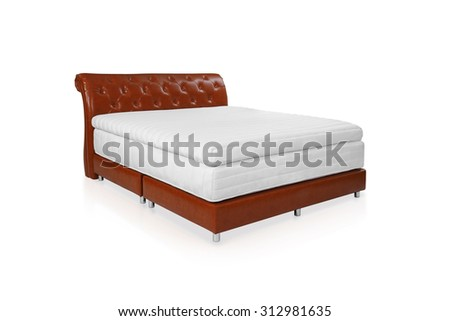 Bed and mattress to supported your back, the image isolated on white background