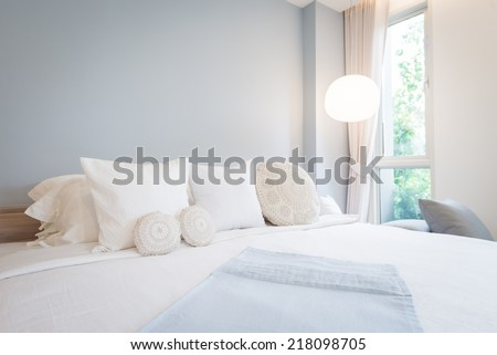 Bed and pillow set with bed runner  - stock photo