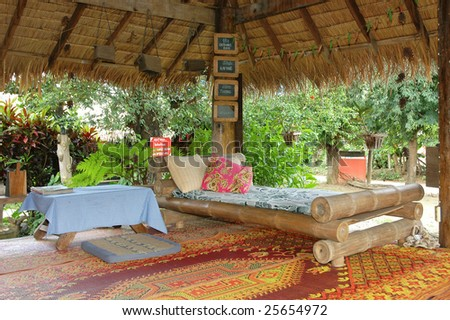 Bed Bamboo Outdoor - stock photo