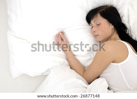 Bed girl woman sleeping alone pillow