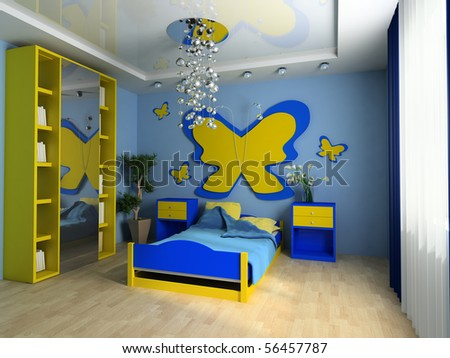 Bed in a children's room 3d image - stock photo
