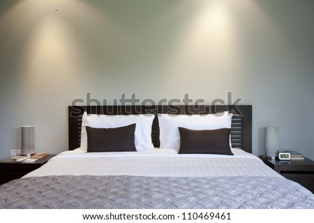Bed Hotel Room Night Stock Photo 110469461