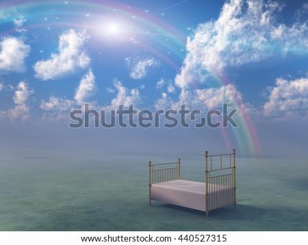 Bed in fantasy landscape 3D Render - stock photo
