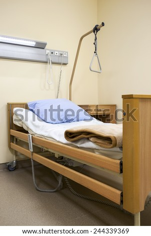 Bed in modern hospital