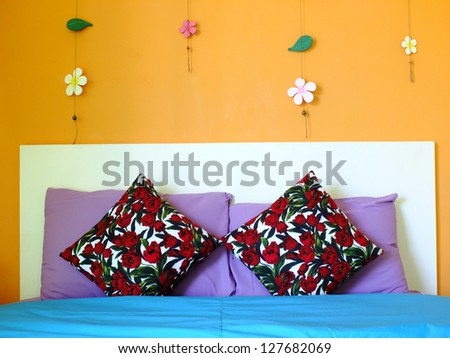 Bed in the resort,Bedroom ready for guests - stock photo