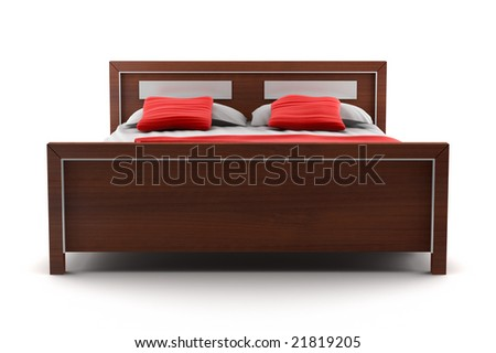 bed isolated on white background - stock photo