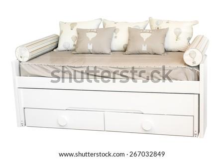bed isolated on white background - stock photo