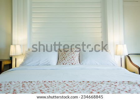 Bed room. - stock photo