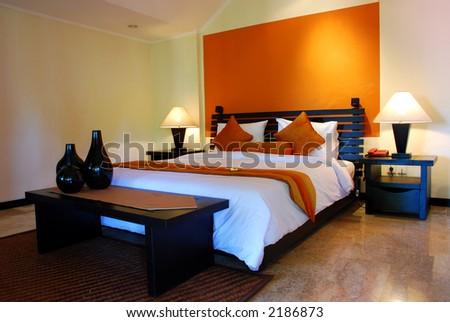 Bed room interior - stock photo