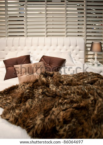 bed room textile and pillows - stock photo