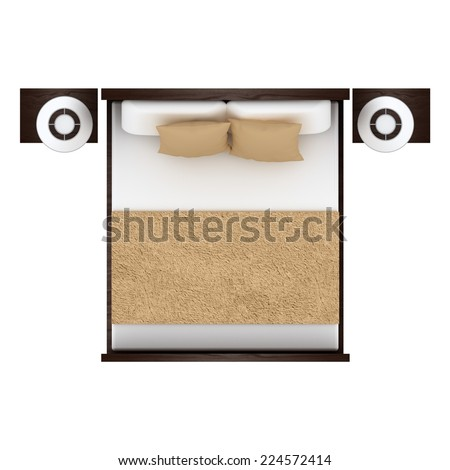 Bed Top View Isolated On White Stock Illustration ...