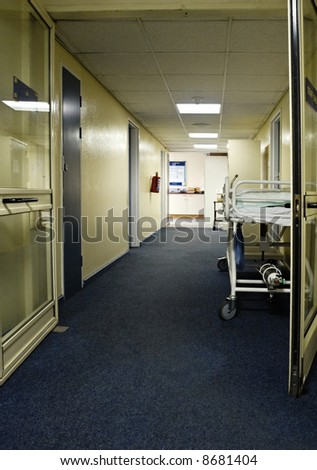 bed with oxygen tube  on the hospital hallway, healthcare series - stock photo