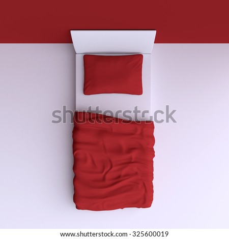 Bed with pillow and blanket in the corner room, 3d illustration. Top view. - stock photo