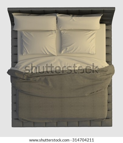 Bed with pillows and a blanket isolated on white top view - stock photo