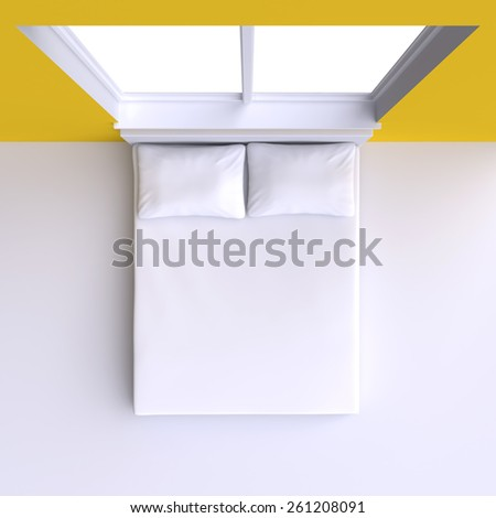Bed with pillows and  in the corner room with window, 3d illustration. Top view. - stock photo