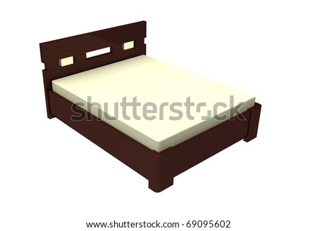 Bed wooden with a mattress on a white background - stock photo