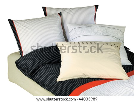 Bedclothes isolated on white with clipping path - stock photo
